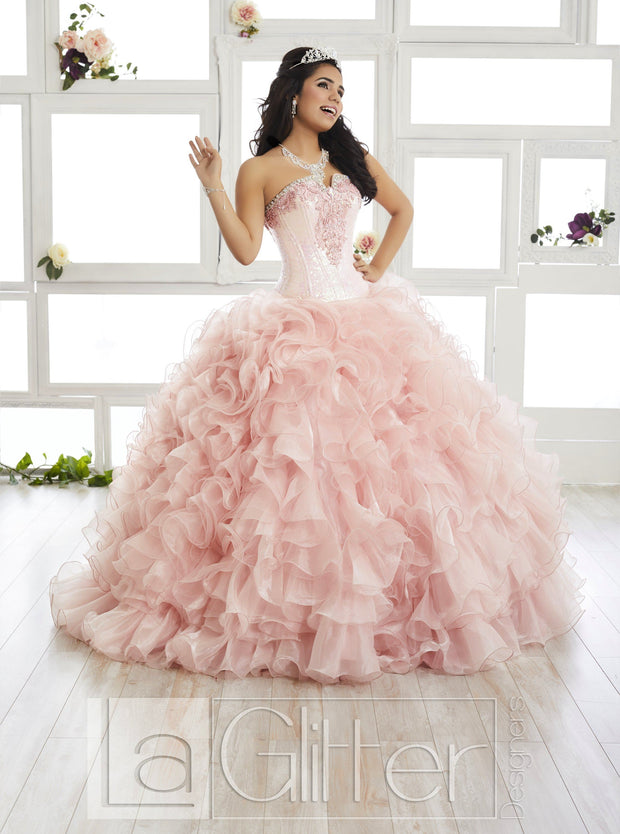 Strapless Ruffled Dress by House of Wu LA Glitter 24015-Quinceanera Dresses-ABC Fashion