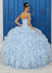 Strapless Ruffled Dress by House of Wu LA Glitter 24034-Quinceanera Dresses-ABC Fashion