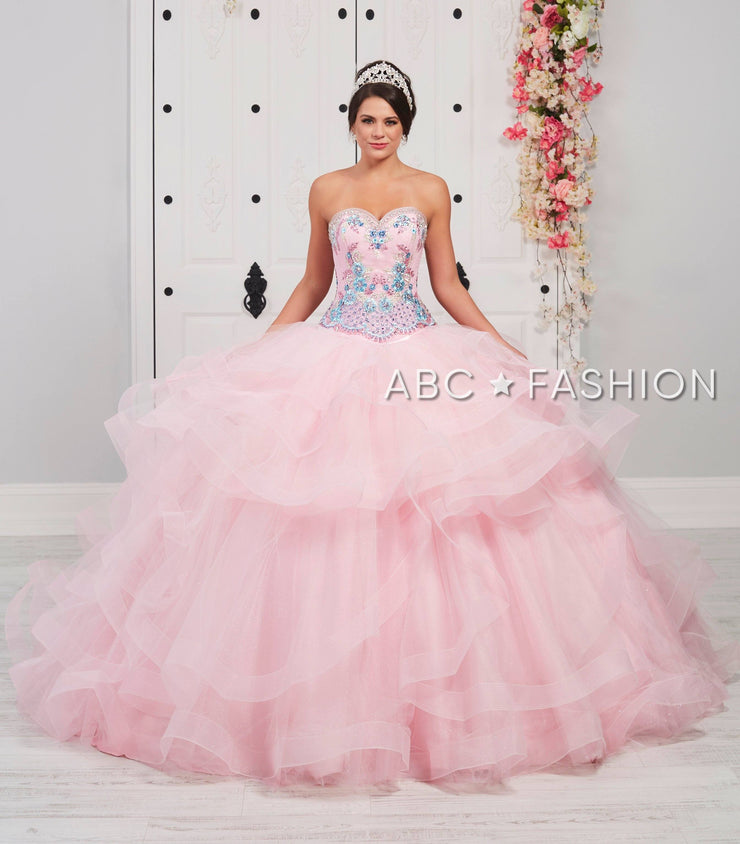 Strapless Ruffled Glitter Quinceanera Dress by LA Glitter 24060-Quinceanera Dresses-ABC Fashion