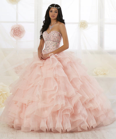 Strapless Ruffled Quinceanera Dress by Fiesta Gowns 56353 (Size 14 - 26)-Quinceanera Dresses-ABC Fashion