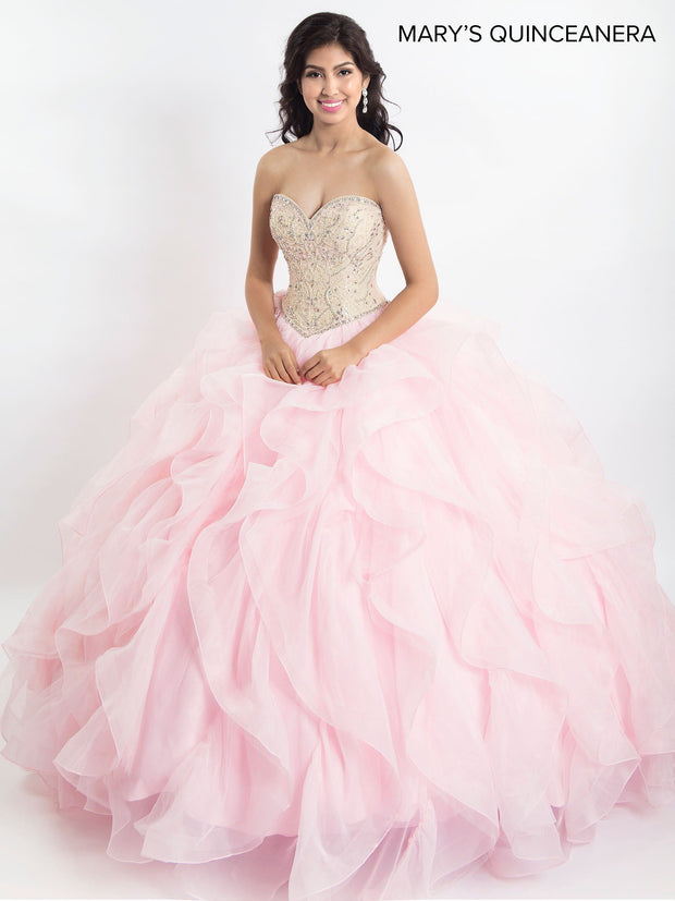 Strapless Ruffled Quinceanera Dress by Mary's Bridal M4Q2023-Quinceanera Dresses-ABC Fashion