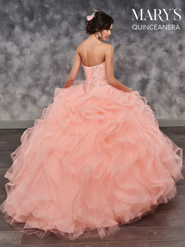 Strapless Ruffled Quinceanera Dress by Mary's Bridal MQ2032-Quinceanera Dresses-ABC Fashion