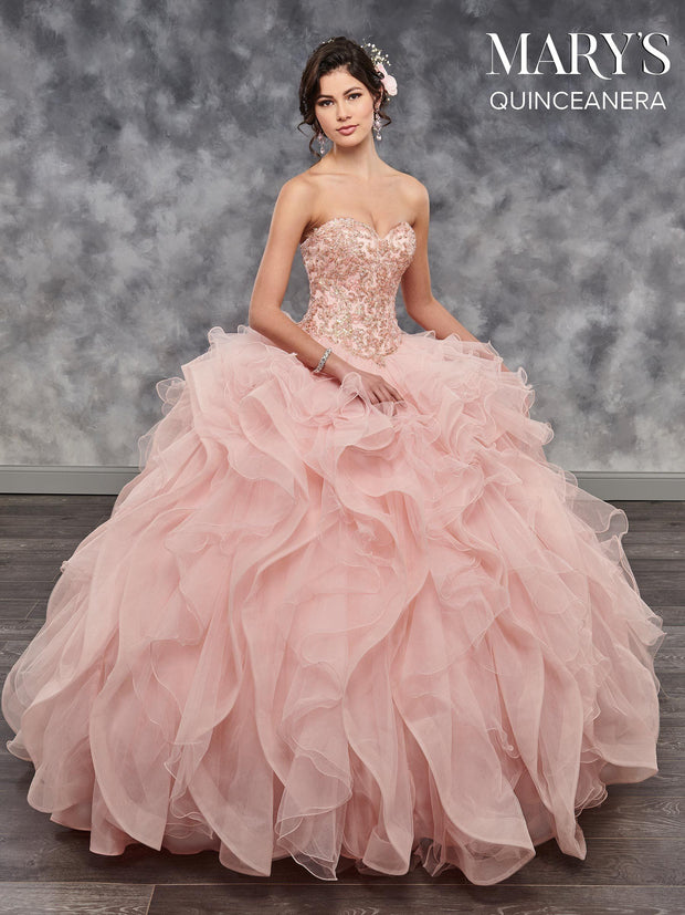 Strapless Ruffled Quinceanera Dress by Mary's Bridal MQ2042-Quinceanera Dresses-ABC Fashion