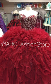 Strapless Ruffled Quinceanera Dress by Mary's Bridal Princess 4Q504-Quinceanera Dresses-ABC Fashion