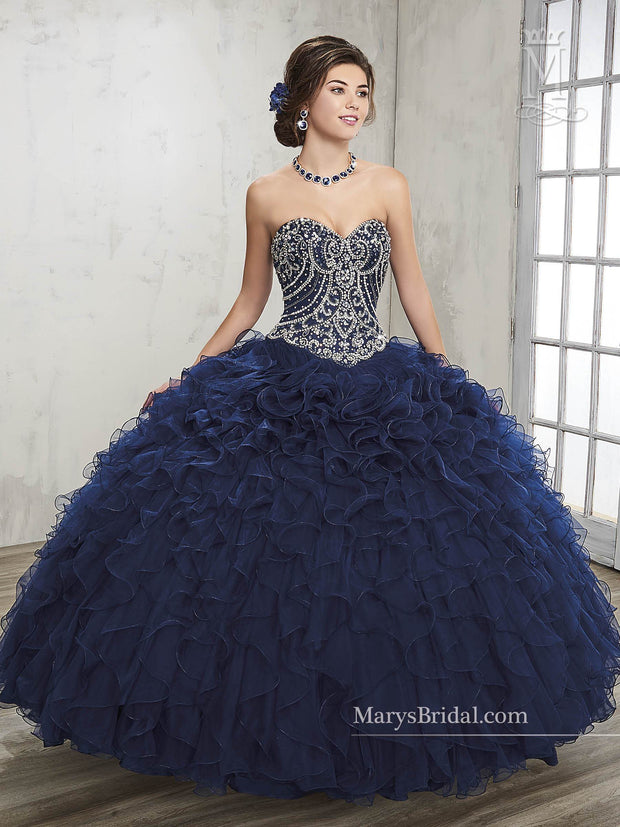 Strapless Ruffled Quinceanera Dress by Mary's Bridal Princess 4Q504