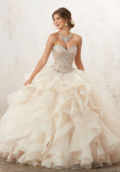 Strapless Ruffled Quinceanera Dress by Mori Lee Vizcaya 89126-Quinceanera Dresses-ABC Fashion