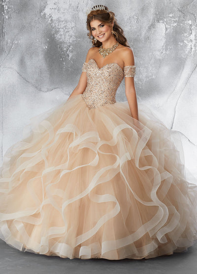 Strapless Ruffled Quinceanera Dress by Mori Lee Vizcaya 89185-Quinceanera Dresses-ABC Fashion