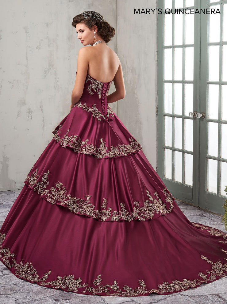 Strapless Satin Quinceanera Dress by Mary's Bridal M4Q2001-Quinceanera Dresses-ABC Fashion