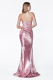 Strapless Shiny Metallic Fitted Dress by Cinderella Divine CF335-Long Formal Dresses-ABC Fashion