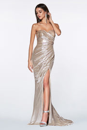 Strapless Shiny Metallic Dress by Cinderella Divine KV1036