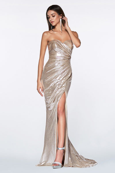 Strapless Shiny Metallic Mermaid Dress by Cinderella Divine KV1036-Long Formal Dresses-ABC Fashion