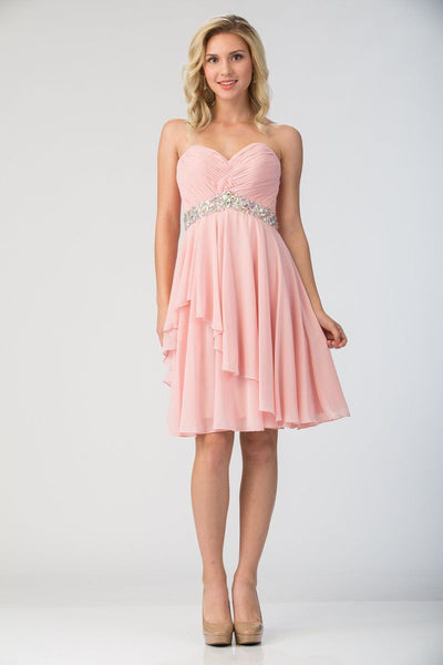 Strapless Short Knee Length Dress with Beaded Waist by Star Box 6071-Short Cocktail Dresses-ABC Fashion