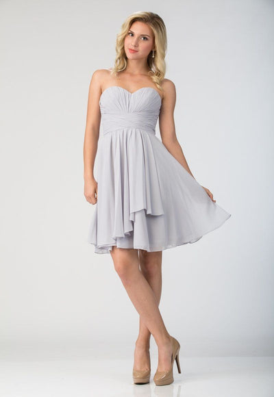 Strapless Short Knee Length Dress with Corset Back by Star Box 6074-Short Cocktail Dresses-ABC Fashion