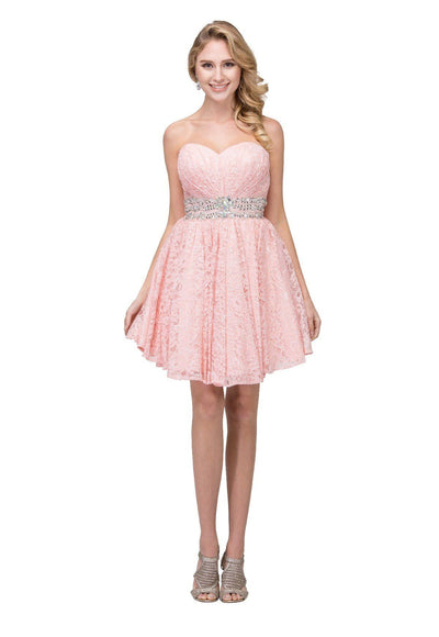 Strapless Short Lace Dress with Corset Back by Star Box 6153-Short Cocktail Dresses-ABC Fashion
