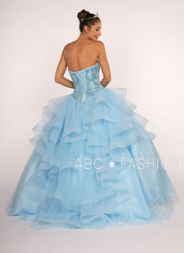 Strapless Sweetheart Ball Gown with Ruffled Skirt by Elizabeth K GL2515-Quinceanera Dresses-ABC Fashion