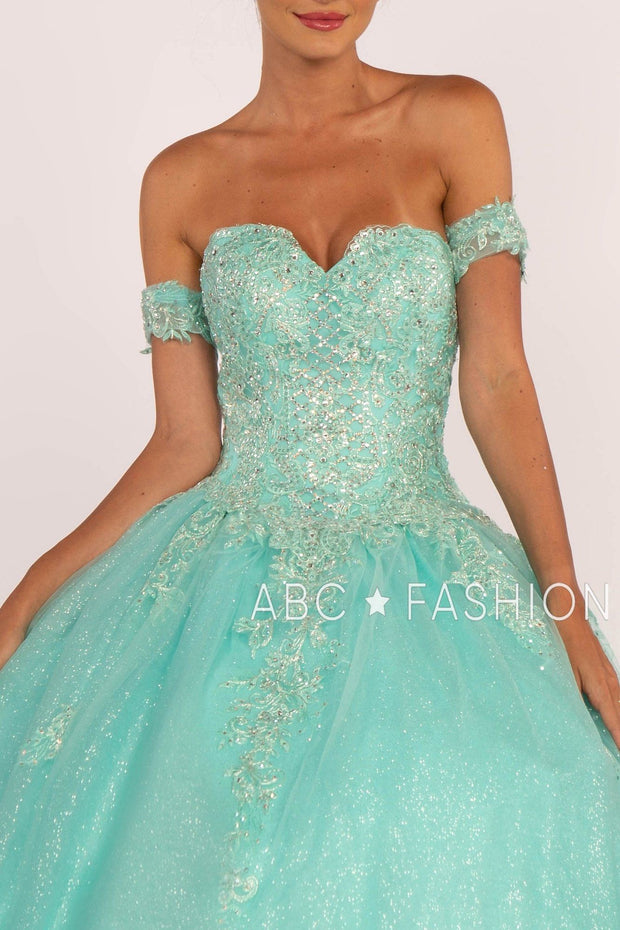 Strapless Sweetheart Glitter Ball Gown by Elizabeth K GL2604-Quinceanera Dresses-ABC Fashion