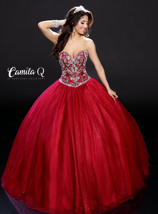 Strapless Sweetheart Glitter Quinceanera Dress by Camila Q Q17109-Quinceanera Dresses-ABC Fashion