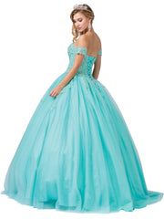 Strapless Sweetheart Glitter Tulle Ball Gown by Dancing Queen 1332