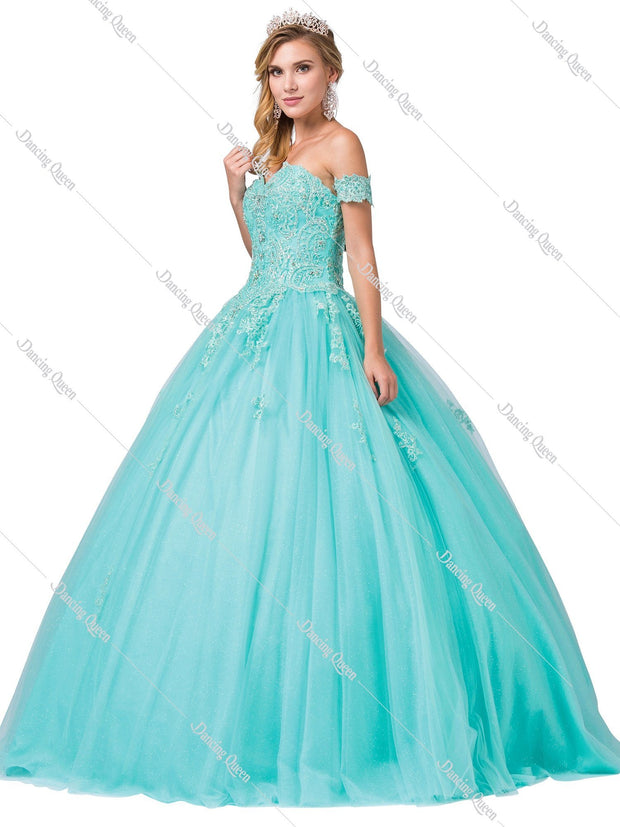Strapless Sweetheart Glitter Tulle Ball Gown by Dancing Queen 1332-Quinceanera Dresses-ABC Fashion