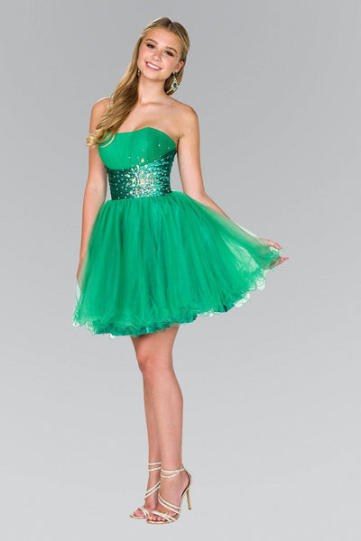 Strapless Sweetheart Tulle Short Dress by Elizabeth K GS1050-Short Cocktail Dresses-ABC Fashion