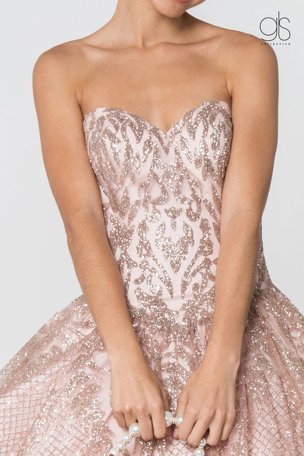 Sweetheart Strapless Glitter Ball Gown by Elizabeth K GL2806-Quinceanera Dresses-ABC Fashion