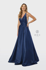 Taffeta Long V-Neck Ball Gown Style Dress by Nox Anabel E156-Long Formal Dresses-ABC Fashion
