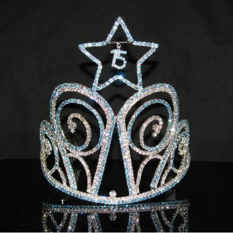 Tall Star Quinceanera Tiara with Blue Stones - T106-Quinceanera Tiaras-ABC Fashion