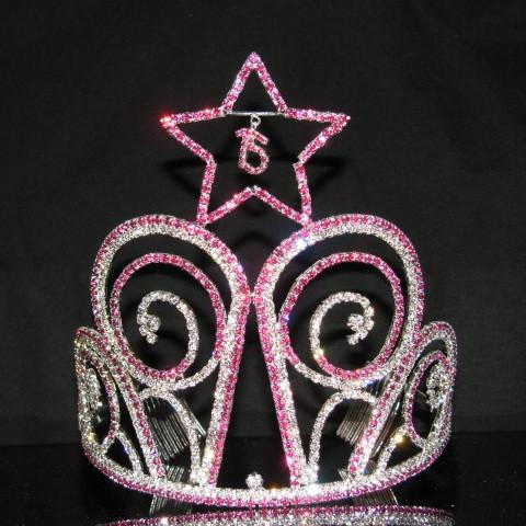 Tall Star Quinceanera Tiara with Fuchsia Stones - T109-Quinceanera Tiaras-ABC Fashion