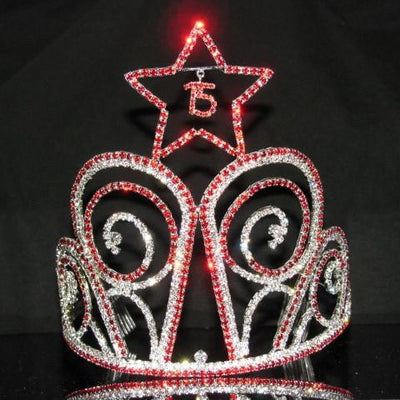 Tall Star Quinceanera Tiara with Red Stones - T105-Quinceanera Tiaras-ABC Fashion