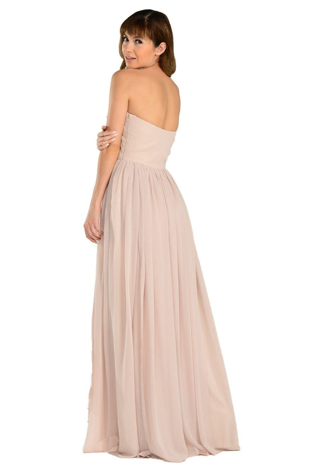 Tan Long Convertible Chiffon Dress by Poly USA-Long Formal Dresses-ABC Fashion