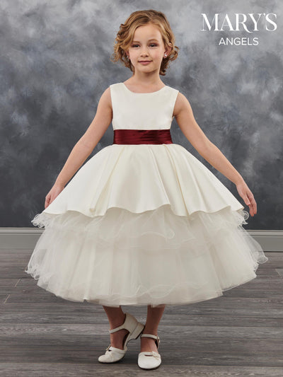 Tea Length Flower Girl Dress with Tiered Skirt by Mary's Bridal MB9027-Girls Formal Dresses-ABC Fashion