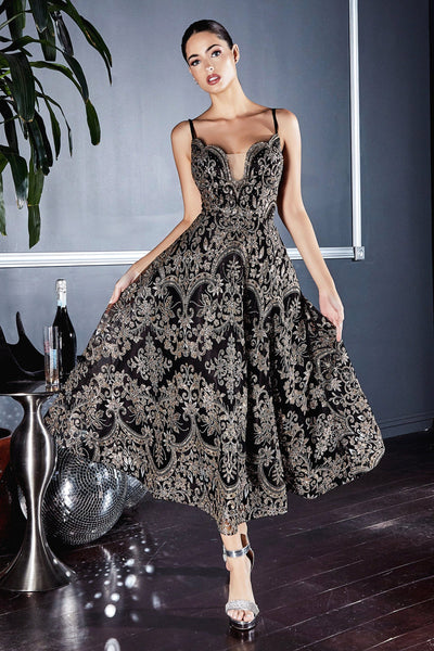 Tea Length Glitter Print Dress by Cinderella Divine CM8076