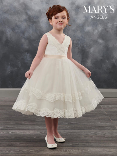 Tea Length Lace Flower Girl Dress by Mary's Bridal MB9018-Girls Formal Dresses-ABC Fashion