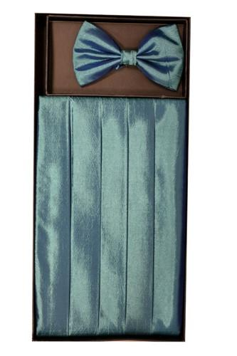 Teal Polyester Cummerbund and Bow Tie Set-Men's Cummerbund-ABC Fashion