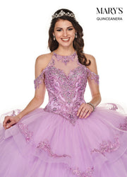 Tiered Cold Shoulder Quinceanera Dress by Mary's Bridal MQ2077-Quinceanera Dresses-ABC Fashion