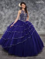 Tiered Halter Quinceanera Dress by Mary's Bridal MQ1025