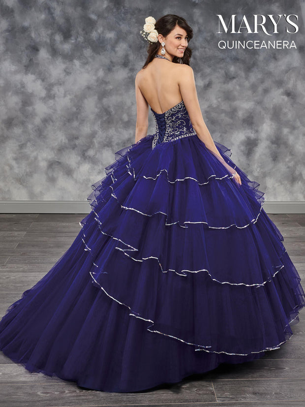 Tiered Halter Quinceanera Dress by Mary's Bridal MQ1025-Quinceanera Dresses-ABC Fashion