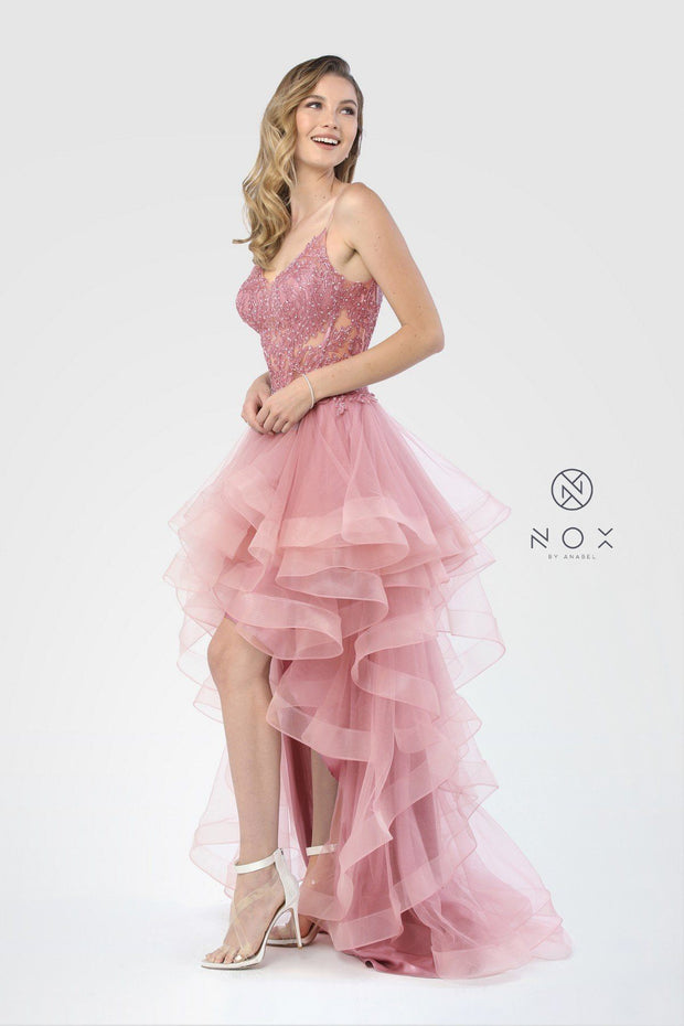 Tiered High Low Dress with Sheer Embroidered Bodice by Nox Anabel A178-Long Formal Dresses-ABC Fashion