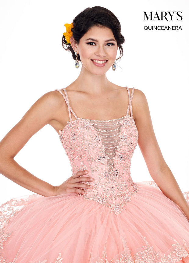 Tiered Illusion Sweetheart Quinceanera Dress by Mary's Bridal MQ1043-Quinceanera Dresses-ABC Fashion