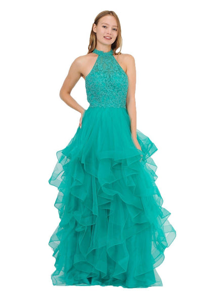 Tiered Long Embroidered Mermaid Dress by Poly USA 8372-Long Formal Dresses-ABC Fashion