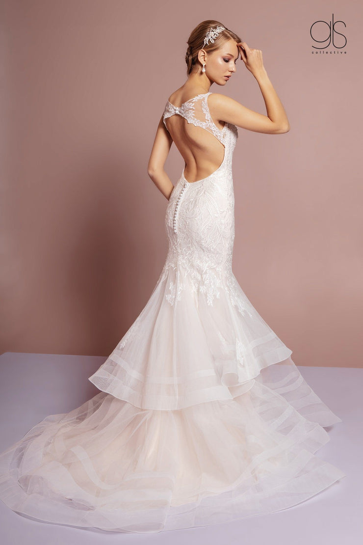 Tiered Mermaid Wedding Dress with Cut Out Back by Elizabeth K GL2689-Wedding Dresses-ABC Fashion