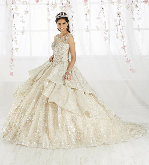 Tiered Metallic Illusion Quinceanera Dress by House of Wu 26910-Quinceanera Dresses-ABC Fashion