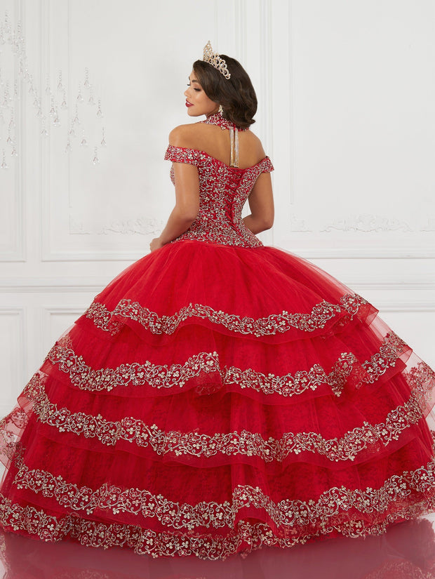 Tiered Off Shoulder Quinceanera Dress by LA Glitter 24073