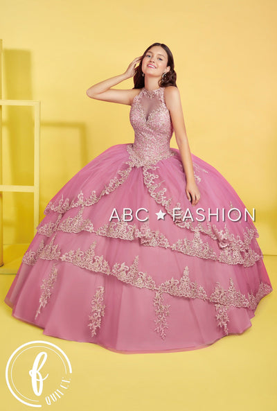Tiered Sheer High-Neck Quinceanera Dress by Forever Quince FQ826