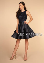 Tiered Short Dress with Strappy Back by Elizabeth K GS1603-Short Cocktail Dresses-ABC Fashion