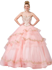 Tiered Strapless Sweetheart Ball Gown by Dancing Queen 1372