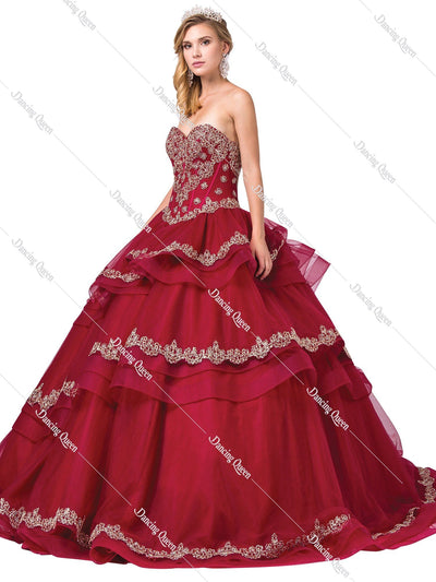 Tiered Strapless Sweetheart Ball Gown by Dancing Queen 1372-Quinceanera Dresses-ABC Fashion