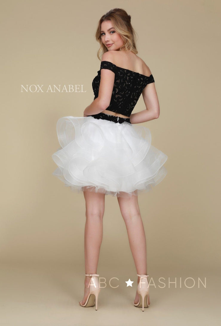 Tulle Short Off the Shoulder Two-Piece Dress by Nox Anabel A613-Short Cocktail Dresses-ABC Fashion