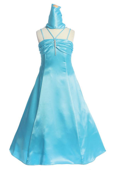 Turquoise A-Line Junior Bridesmaid Dresses-Girls Formal Dresses-ABC Fashion