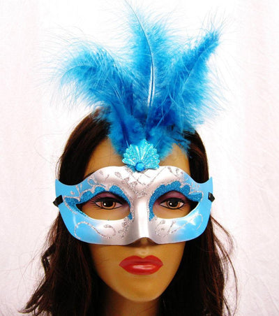 Turquoise and Silver Masquerade Masks with Feathers-Masquerade Masks-ABC Fashion